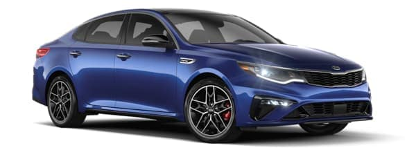 A blue 2020 Kia Optima is angled right.