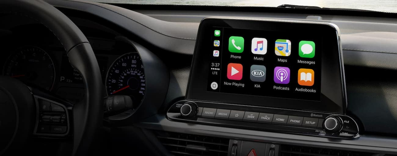 The infotainment screen on a 2020 Kia Forte is shown.