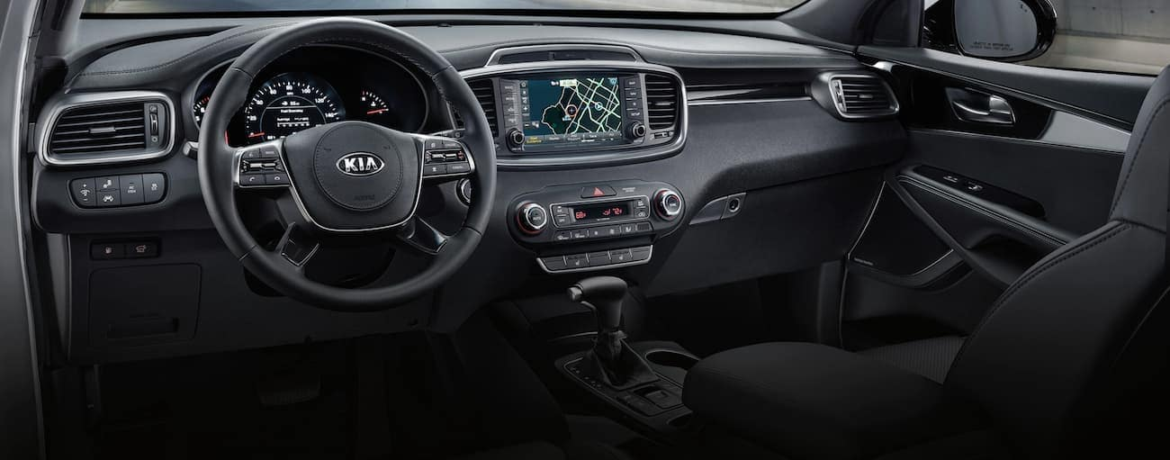 The black interior of a 2020 Kia Sorento is shown, which is similar when comparing the 2020 Kia Sorento vs 2020 Kia Telluride.