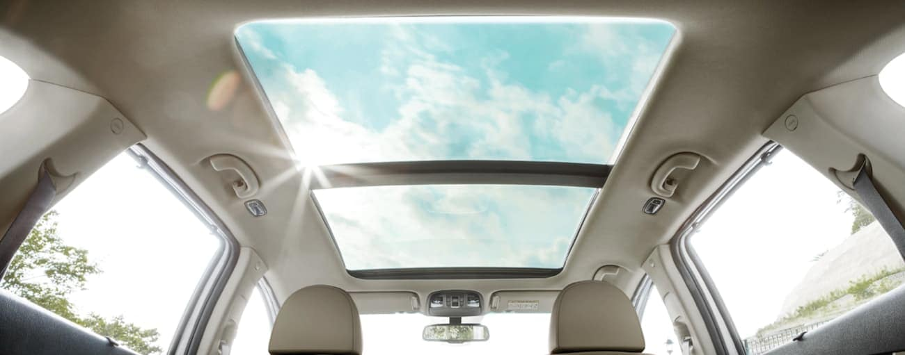 The sunroof in a 2020 Kia Sorento is shown from inside.