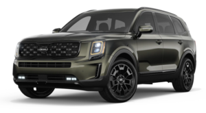 A green 2021 Kia Telluride is angled left.