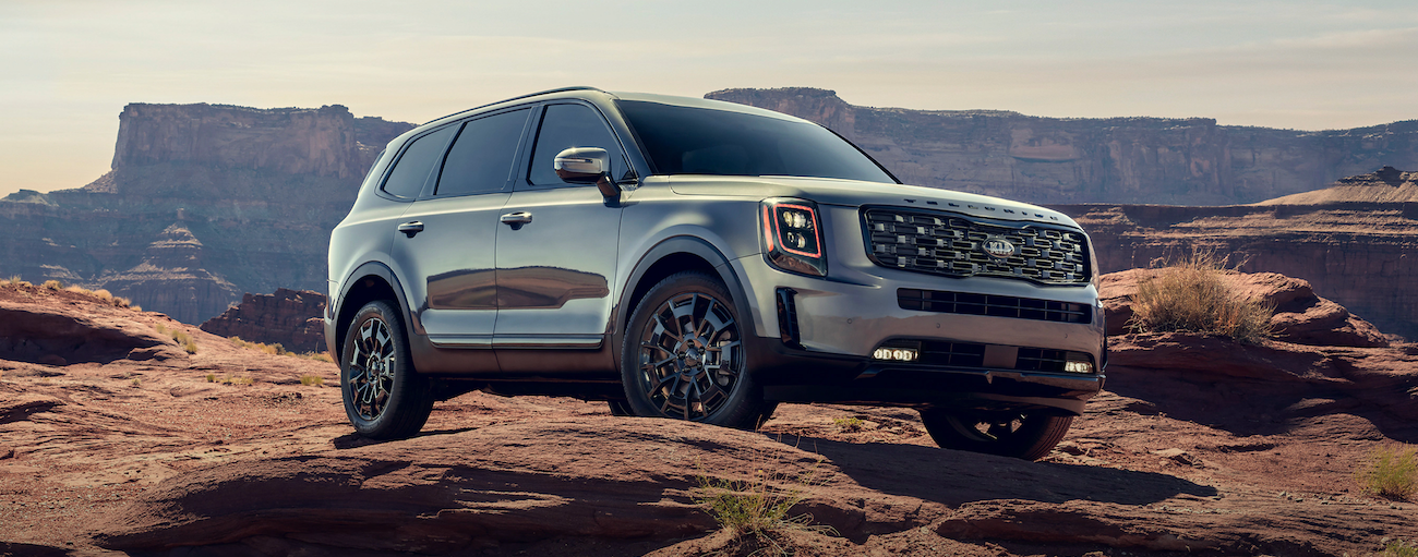 A silver 2021 Kia Telluride is parked in the desert with distant mountains.
