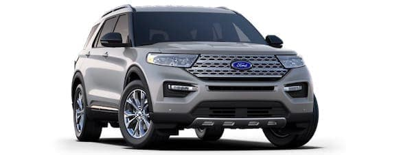 A silver 2020 Ford Explorer is angled right.