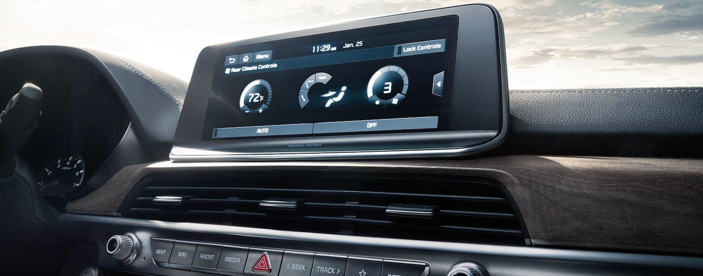 A closeup shows the infotainment screen in a 2021 Kia Telluride that is parked in Freehold, NJ.