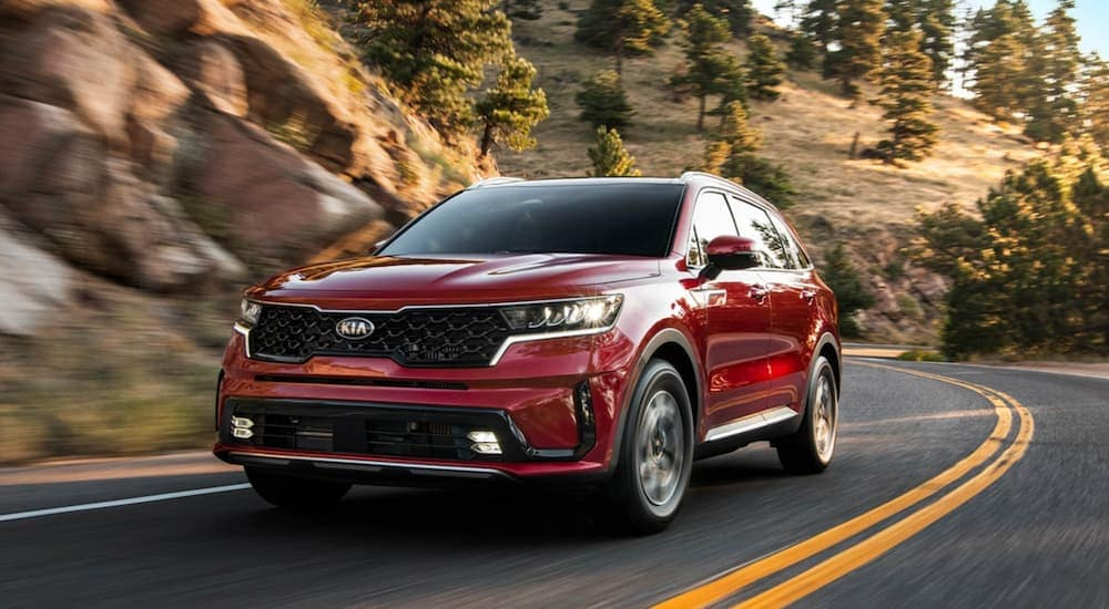 A red 2021 Kia Sorento is driving on a winding road past hills after leaving a Kia dealership near Lakewood, NJ.