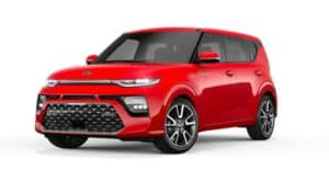 A red 2021 Kia Soul is angled left.