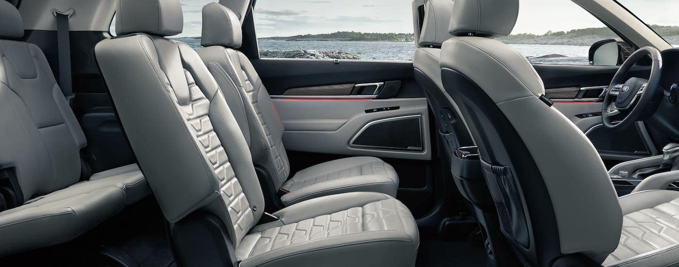 The interior of a 2021 Kia Telluride is shown from the side.