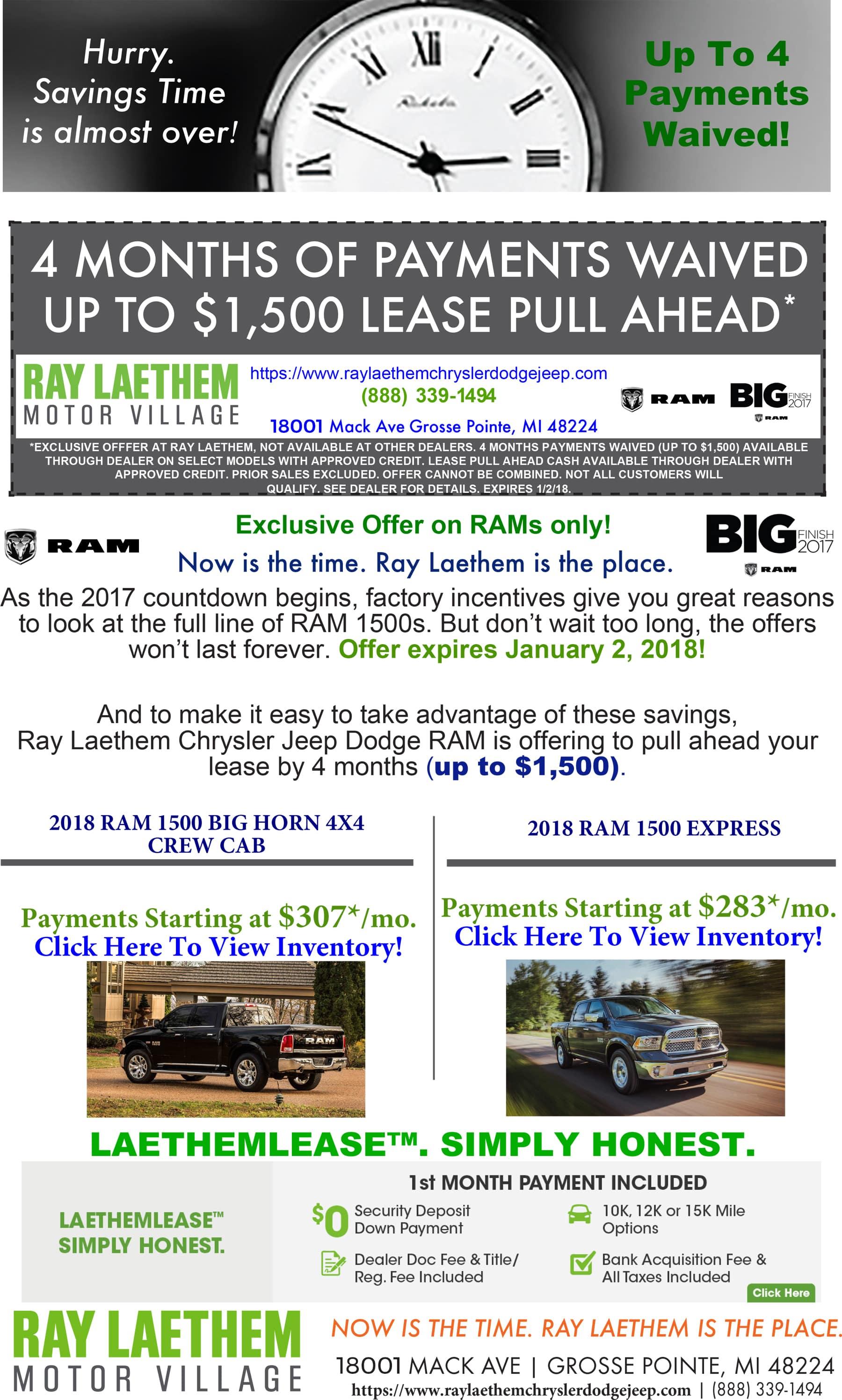RAM Pull Ahead Lease Offer | Ray Laethem Chrysler Dodge Jeep Ram