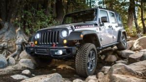 Jeep traversing rocks in Detroit, MI