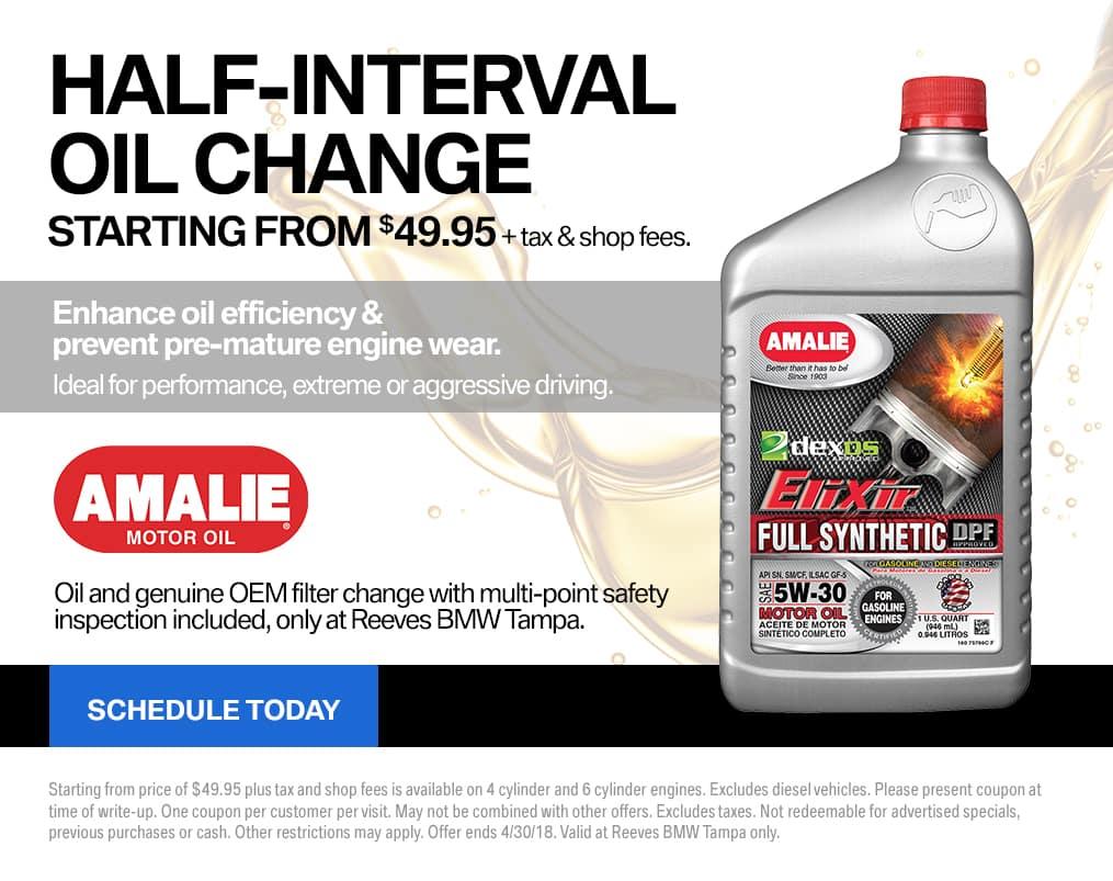 April BMW Half-Interval Oil Change Special