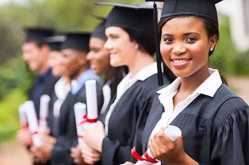 Woman graduating college