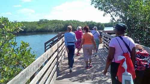 Group of woman walking through Paul Sanders Park