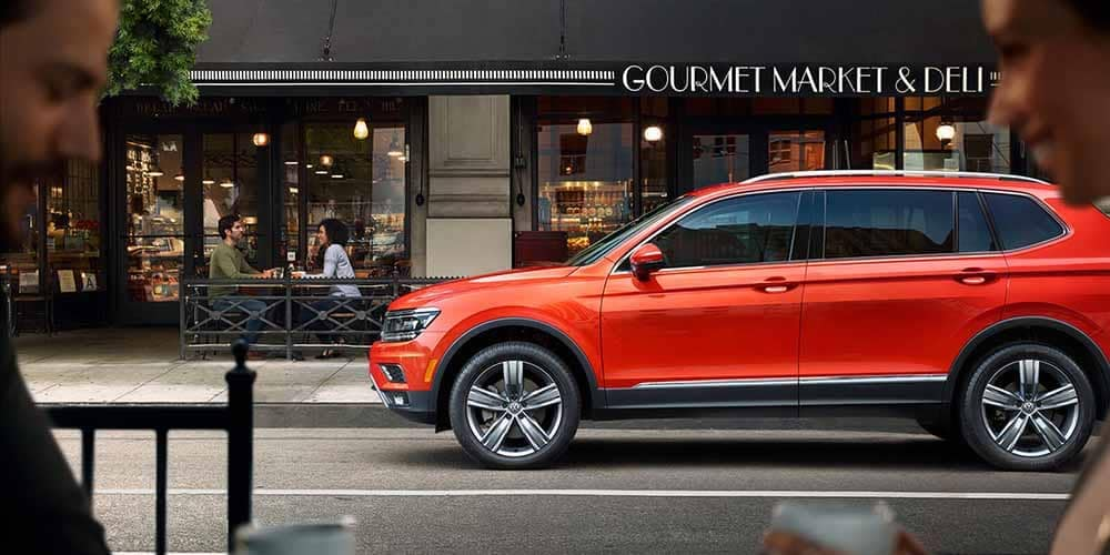 2018 Volkswagen Tiguan Parked Outside Restaurant