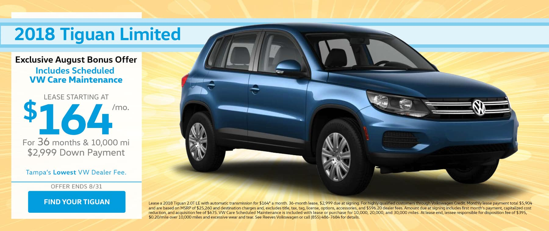 2018 VW Tiguan August Lease Offer