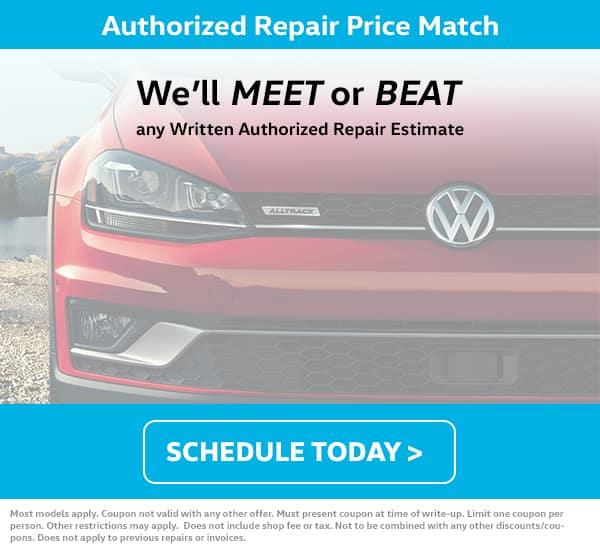 VW Repair Price Match