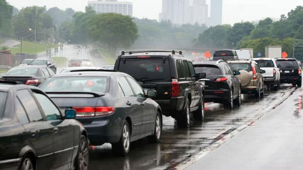Traffic Backup in Rainy Weather