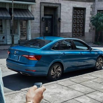 2019 Volkswagen Jetta SEL Premium in silk blue metallic parked