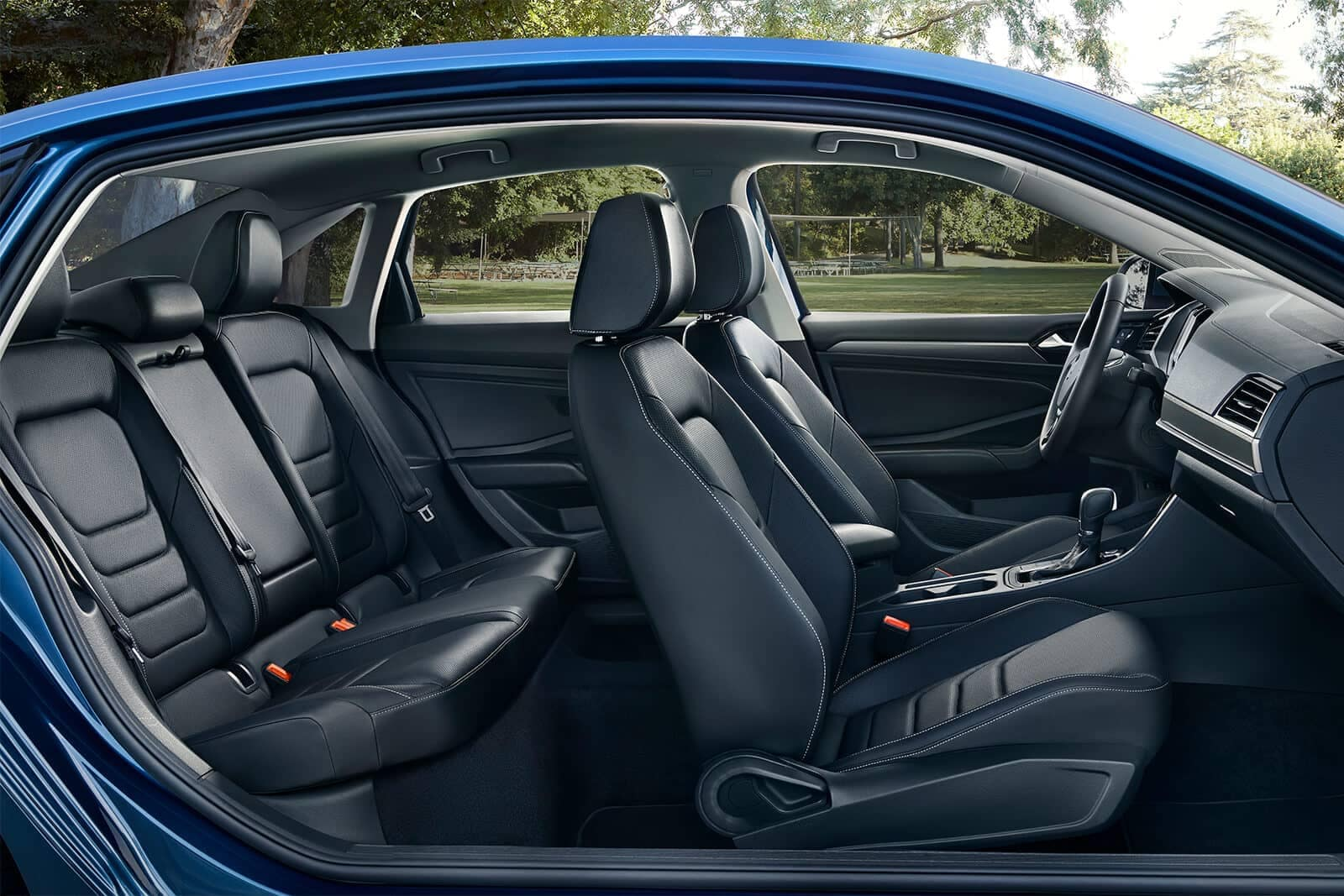 2019 Volkswagen Jetta SEL Premium in titan black leather interior seating