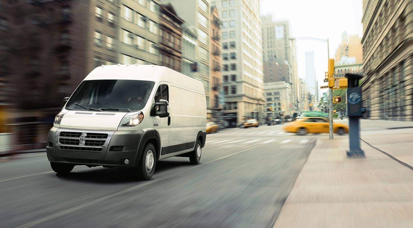 2017 Ram ProMaster driving down city street