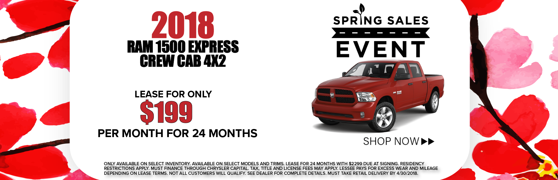 2018 Ram 1500 Express Crew Cab 4X2 Spring Sales Event Banner