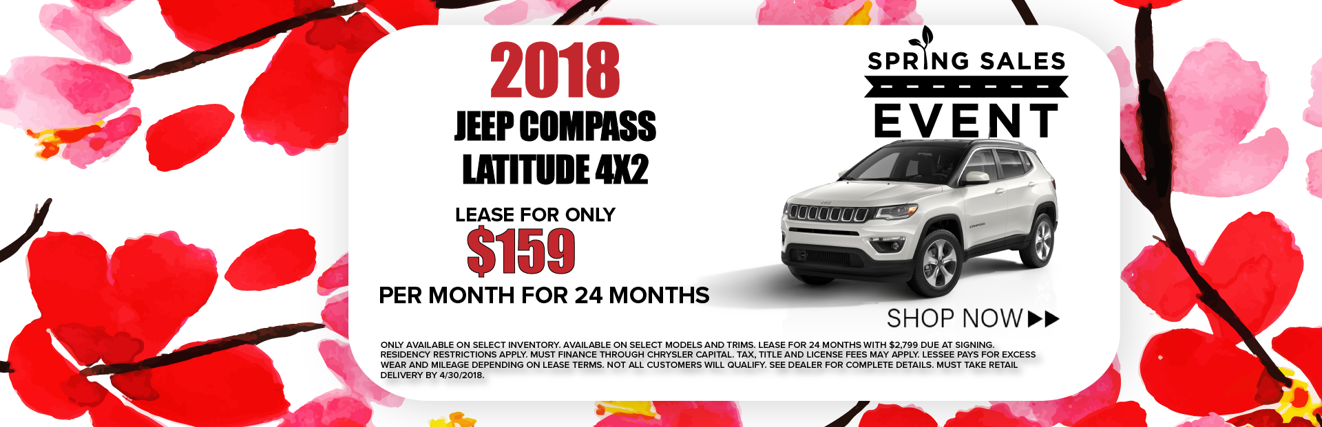 2018 Jeep Compass Latitude 4X2 Spring Sales Event Banner