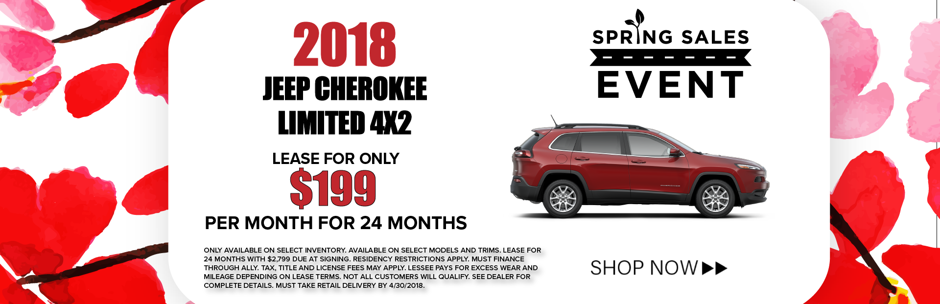 Jeep Cherokee Limited 4X2 Spring Sales Event Banner