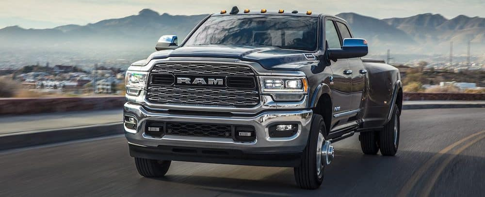 2019 RAM 3500 in black by the mountains