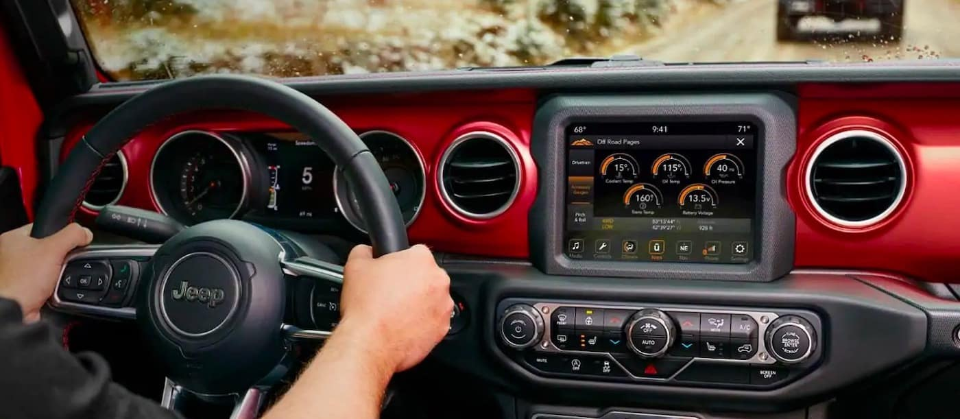 2019 Jeep Cherokee interior with UConnect system and Bluetooth connectivity