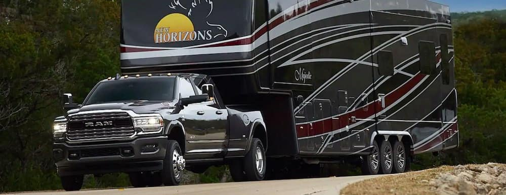 2019 RAM 3500 towing a large RV trailer
