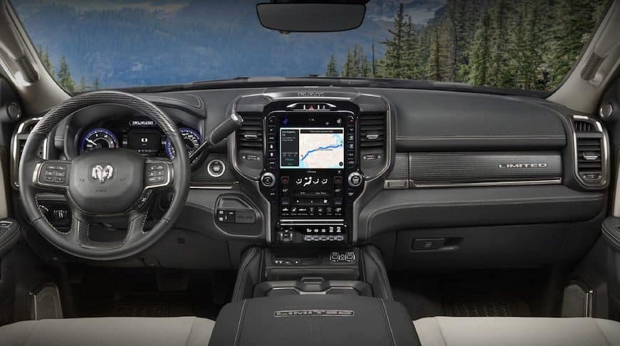 2019 RAM 2500 interior dashboard and Uconnect screen