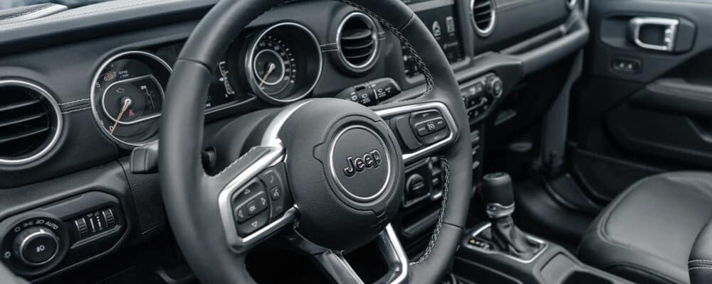 close up of jeep steering wheel