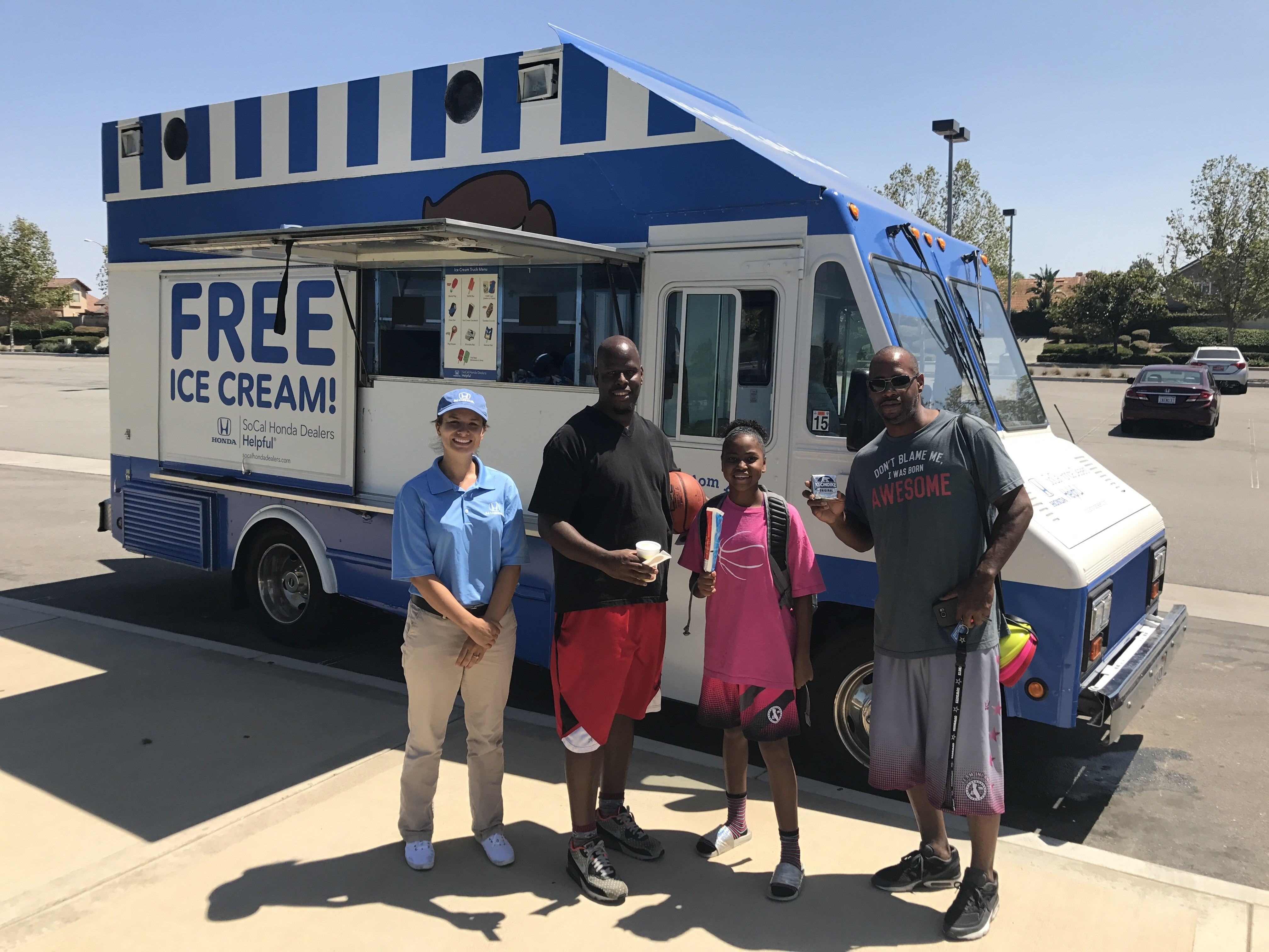 Summer cool down with free ice cream from the guys in blue for Southern california honda dealers
