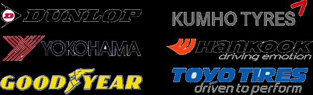 Dunlop, Kumho Tires, Yokohama, Hankook, Goodyear, and Toyo Tires