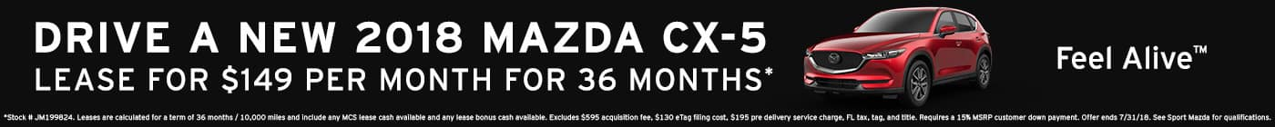 Fourth of July Event pricing on 2018 Mazda CX-5 at Sport Mazda in Orlando, Florida