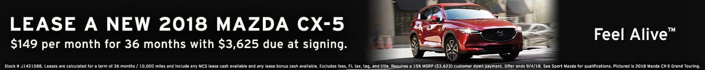 New 2018 Mazda CX-5 sport lease at Sport Mazda in Orlando, Florida