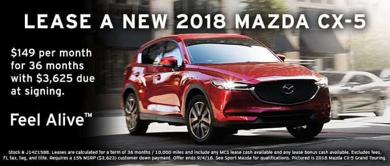 2018 Mazda CX-5 lease special at Sport Mazda in Orlando, FL