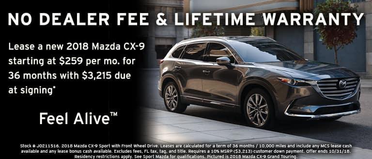 2018 Mazda CX-9 October lease special at Sport Mazda in Orlando, FL