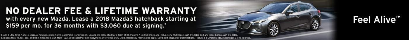 October leases New 2018 Mazda3 hatchback sport lease at Sport Mazda in Orlando, Florida