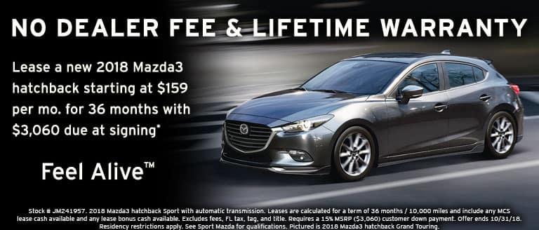 2018 Mazda3 hatchback October lease special at Sport Mazda in Orlando, FL