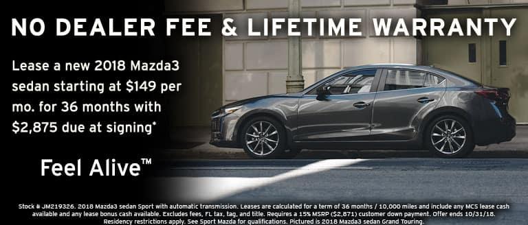 2018 Mazda3 sedan October lease special at Sport Mazda in Orlando, FL
