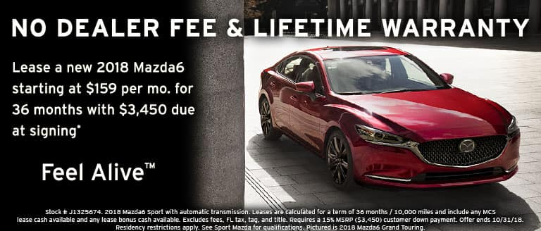 2018 Mazda6 October lease special at Sport Mazda in Orlando, FL