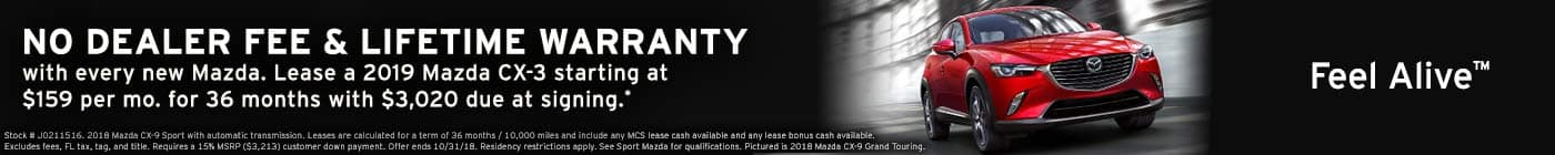 October leases! New 2019 Mazda CX-3 sport lease at Sport Mazda in Orlando, Florida