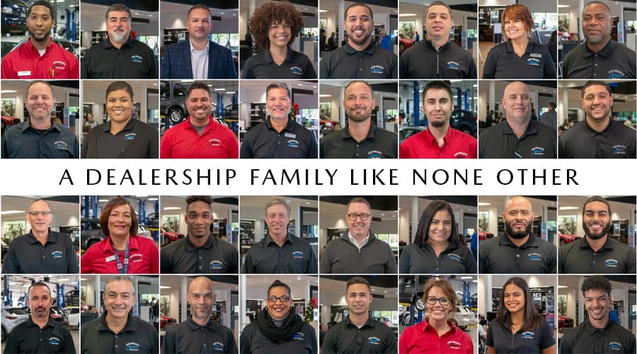 Collage of Sport Mazda sales and service employee portraits with text that reads, A dealership family like none other.