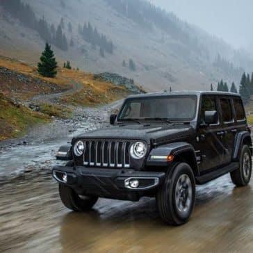 2018 Jeep Wrangler on wet road