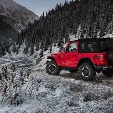 2018 Jeep Wrangler on snowy mountain road