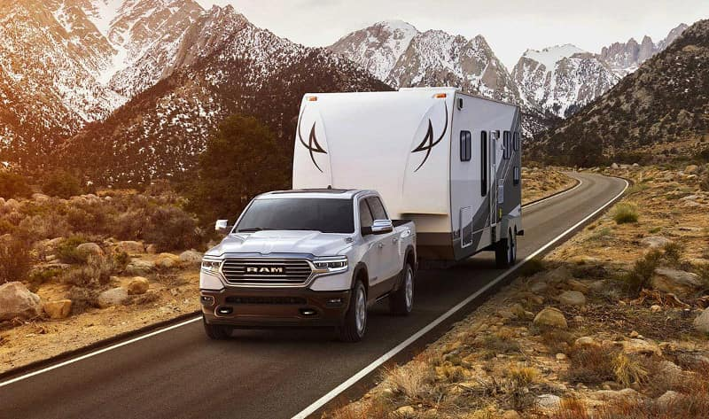 2019 RAM 1500 tows trailer