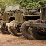 Line of military Jeep vehicles