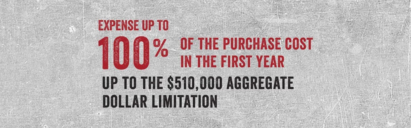 Expense up to 100% of the purchase cost
