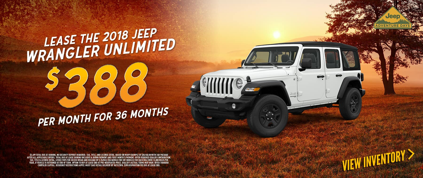 Lease 2018 Jeep Wrangler For 388 Per Month