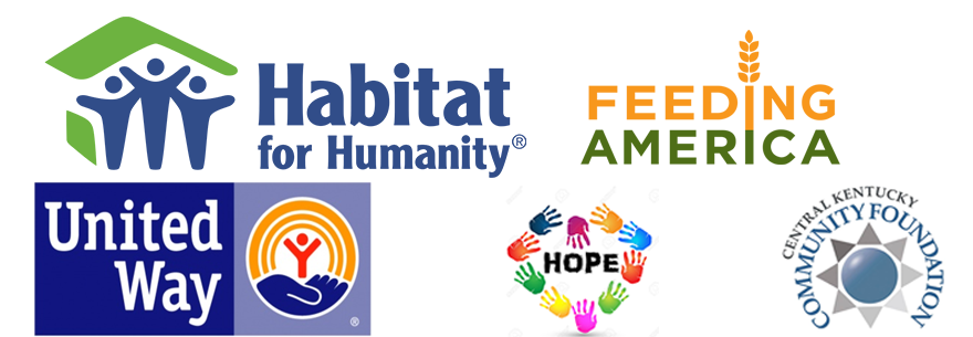 habitat for humanity, feeding america, united way, helping hands for hope, and central kentucky community foundation logos